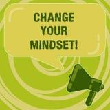 Handskrifttextändring din Mindset Fast mental inställning eller disposition för begreppsbetydelse som visar svar vektor illustrationer