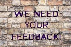 Handskrifttext behöver vi din återkoppling Begreppsbetydelsen ger oss dina granskningtankar kommentarer vad för att förbättra fotografering för bildbyråer