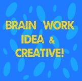 Handskrifttext Brain Work Idea And Creative Begrepp som betyder innovativt tänkande sömlöst slumpmässigt för kreativitetkläckning royaltyfri illustrationer
