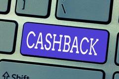 Handskrifttext Cashback Erbjöd det menande incitamentet för begreppet till köpare bestämda produkter, varigenom motta kassa royaltyfri bild