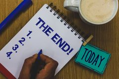 Handskrifttext den Motivational appellen för slut Rånar den menande avslutningen för begreppet av tid för något att avsluta av li arkivbilder