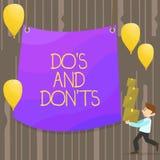 Handskrifttext gör S och Don Ts Begrepp som betyder regler eller egenar angående någon aktivitet eller bärande hög för handlingma vektor illustrationer
