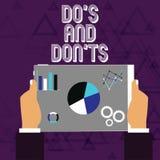 Handskrifttext gör S och Don Ts Begrepp som betyder regler eller egenar angående något aktivitet eller handlinghandinnehav royaltyfri illustrationer