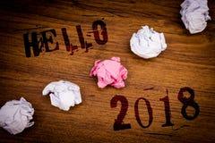 Handskrifttext Hello 2018 Är den menande starten för begrepp ett Motivational meddelande 2017 för nytt år över nowIdeasordträback Royaltyfria Foton