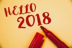 Handskrifttext Hello 2018 Är den menande starten för begrepp ett Motivational meddelande 2017 för nytt år över röda nowIdeasmedde Arkivfoto