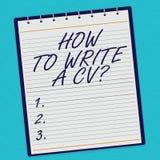 Handskrifttext hur man skriver ett CV Begrepp som betyder rekommendationer att göra en bra meritförteckning för att erhålla en jo royaltyfria foton