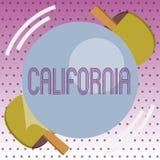 Handskrifttext Kalifornien Begreppsbetydelsetillståndet på västkustenAmerikas förenta stater sätter på land Hollywood royaltyfri illustrationer