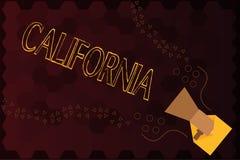 Handskrifttext Kalifornien Begreppsbetydelsetillståndet på västkustenAmerikas förenta stater sätter på land Hollywood vektor illustrationer