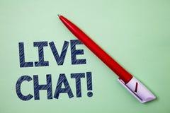 Handskrifttext Live Chat Motivational Call Begreppet som betyder realtidsmassmediakonversation meddelar direktanslutet, konstverk Royaltyfri Bild