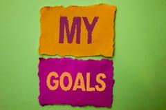 Handskrifttext mina mål För målsyfte för begrepp som vision för mål för menande för strategi för beslutsamhet plan för karriär sa Royaltyfri Bild