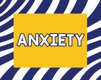Handskrifttext som skriver ångest Begrepp som betyder överdriven olust- och uppfattningsförmåganödattacksyndrom stock illustrationer