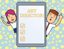 Handskrifttext som skriver Art Director Begreppsbetydelseansvarig för kontroll av de konstnärliga aspekterna av en filmman vektor illustrationer