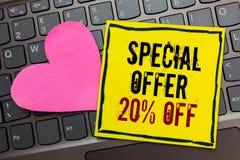Handskrifttext som skriver av specialt erbjudande 20 Erbjudande för marknadsföring för försäljningar för befordran för begreppsbe royaltyfri foto