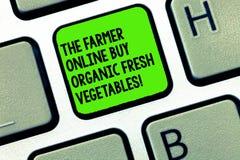 Handskrifttext som skriver bonden Online Buy Organic nya grönsaker Tangentbord för mat för begreppsbetydelseköp sunt royaltyfri foto