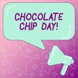 Handskrifttext som skriver choklad Chip Day Begreppsbetydelsedatum som tycker om smakliga bitar av chocoen i din kakamegafon vektor illustrationer