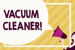 Handskrifttext som skriver dammsugare Begreppsbetydelsemaskin som gör ren golv och yttersidor, genom att suga upp enormt damm royaltyfri illustrationer