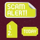 Handskrifttext som skriver den Scam varningen Olagligt trick för begreppsbetydelse vanligt med avsikt av att få pengar från visni royaltyfri illustrationer
