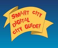 Handskrifttext som skriver den Smart City Digital stadshandboken Begreppsbetydelsen förband teknologiska moderna städer vek 3D vektor illustrationer