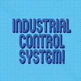 Handskrifttext som skriver det industriella kontrollsystemet Begrepp som betyder integration av maskinvara och programvara med de royaltyfri foto