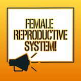 Handskrifttext som skriver det kvinnliga reproduktiva systemet Begreppsbetydelseansvarig i reproduktionen av nya avkommor stock illustrationer