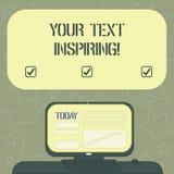 Handskrifttext som skriver ditt inspirera för text Begreppsbetydelseord gör dig att känna sig upphetsa och starkt entusiastisk royaltyfri illustrationer
