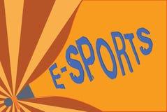 Handskrifttext som skriver e-sportar Spelade den multiplayer videospelet för begreppsbetydelsen konkurrenskraftigt för åskådare royaltyfri illustrationer