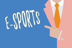 Handskrifttext som skriver e-sportar Spelade den multiplayer videospelet för begreppsbetydelsen konkurrenskraftigt för åskådare vektor illustrationer