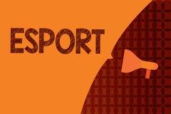 Handskrifttext som skriver Esport Begreppet som betyder den multiplayer videospelet, spelade konkurrenskraftigt för åskådare och  vektor illustrationer