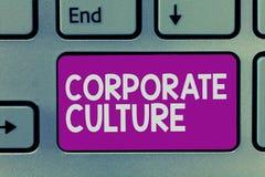Handskrifttext som skriver företags kultur Troar och idéer för begrepp värderar menande, som ett företag har delat arkivbilder