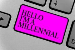 Handskrifttext som skriver Hello är jag, ett Millennial Vuxenliv för menande person för begrepp nående ung i aktuell århundradeda arkivfoto