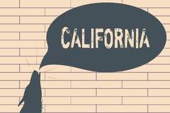 Handskrifttext som skriver Kalifornien Begreppsbetydelsetillståndet på västkustenAmerikas förenta stater sätter på land Hollywood royaltyfri illustrationer