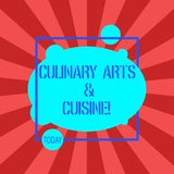 Handskrifttext som skriver kulinariska konster och kokkonst Begreppsbetydelsekock som förbereder utmärkta recept för gourmet- foo stock illustrationer