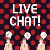 Handskrifttext som skriver Live Chat Service för begreppsbetydelserengöringsduk som låter affärer eller vänner meddela stock illustrationer