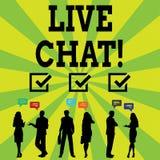 Handskrifttext som skriver Live Chat Service för begreppsbetydelserengöringsduk som låter affärer eller vänner meddela vektor illustrationer