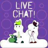 Handskrifttext som skriver Live Chat Service för begreppsbetydelserengöringsduk som låter affärer eller vänner meddela diagramet royaltyfri illustrationer