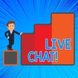 Handskrifttext som skriver Live Chat Service för begreppsbetydelserengöringsduk som låter affärer eller vänner meddela lyckligt vektor illustrationer