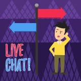 Handskrifttext som skriver Live Chat Service för begreppsbetydelserengöringsduk som låter affärer eller vänner meddela mannen vektor illustrationer
