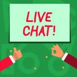 Handskrifttext som skriver Live Chat Service för begreppsbetydelserengöringsduk som låter affärer eller vänner meddela två royaltyfri illustrationer