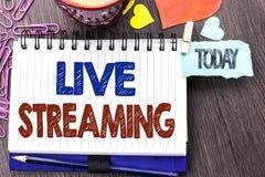 Handskrifttext som skriver Live Streaming Teknologi för multimedia för överföringen för menande massmedia för begreppet sänder re fotografering för bildbyråer