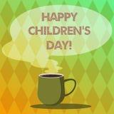 Handskrifttext som skriver lyckliga barn s-dag Fixade datumet för begreppet gjorde betydelsen för att fira barn, och ha gyckel rå stock illustrationer