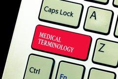 Handskrifttext som skriver medicinsk terminologi Van vid begreppsbetydelsespråk exakt att beskriva huanalysiskroppen arkivbild