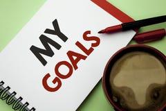 Handskrifttext som skriver mina mål För målsyfte för begrepp vision för mål för menande för strategi för beslutsamhet plan för ka Arkivbild