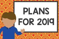 Handskrifttext som skriver plan för 2019 Begrepp som betyder en avsikt eller ett beslut om vad ett ska göra barn vektor illustrationer