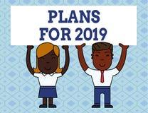 Handskrifttext som skriver plan för 2019 Begrepp som betyder en avsikt eller ett beslut om vad ett ska göra två royaltyfri illustrationer