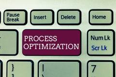 Handskrifttext som skriver processOptimization Begreppsbetydelsen förbättrar organisationer som effektivitet maximerar genomgång royaltyfri foto