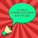 Handskrifttext som skriver programvara för global kommunikation Begrepp som betyder vägar att förbinda visning över det ovala geo vektor illustrationer