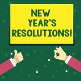 Handskrifttext som skriver upplösningar för nytt år S Begreppet som betyder målmål, uppsätta som mål beslut för därefter 365 daga stock illustrationer