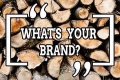 Handskrifttext som skriver vilket S din Brandquestion Begreppsbetydelse som frågar om slogan, eller logo som annonserar marknadsf arkivfoton