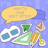 Handskrifttext som skriver vilket S din nästa Stepquestion Begreppet som betyder Analyse, frågar sig, innan det tar beslut två vektor illustrationer