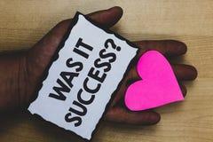 Handskrifttext var det framgångfrågan Begrepp som betyder lycklig känsla, når att ha uppnått framgång i förälskelse l för hjort f royaltyfri foto